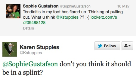 Tweet between Gustafson and Stupples