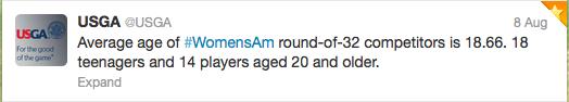 First Tweet of USGA explaining ages of remaining players
