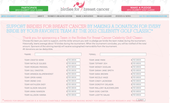 Birdies for Breast Cancer Website Pledge Page Image