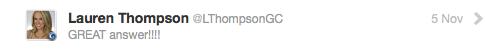 Image of Twitter DM from Lauren Thompson