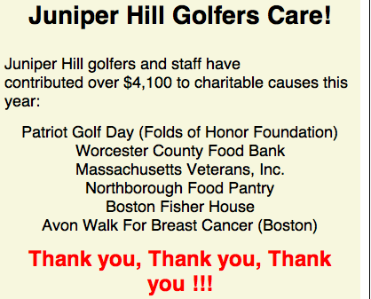 Junioper Hill Thanks Golfers for Giving
