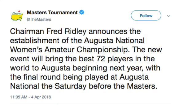 Masters Announcement on Twitter